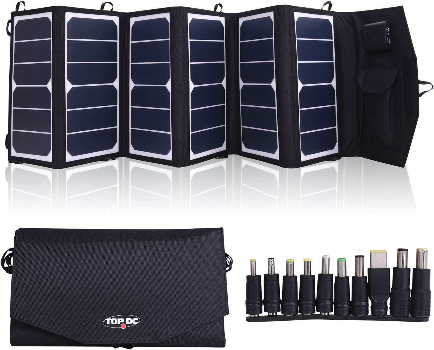 TOPDC 39W High Efficiency 22 Foldable Solar Panel Charger with 5V USB 18V DC Dual Output Camping Travel Charger for Laptop Tablet GPS iPhone iPad Android Camera Other 5-18V Device