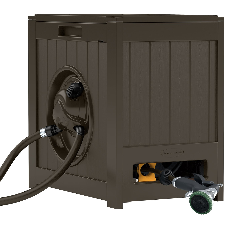 Suncast Aquawinder 125' Garden Hose Reel - Lightweight Portable Hands - Free Water Powered Retractable Hose Reel - Brown by Suncast