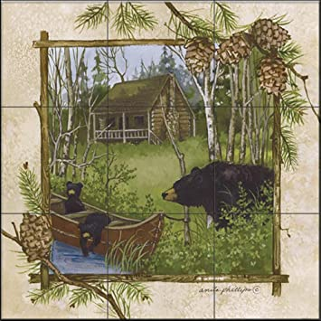 Ceramic Tile Mural Log Cabin By Anita Phillips Kitchen Backsplash Bathroom Shower