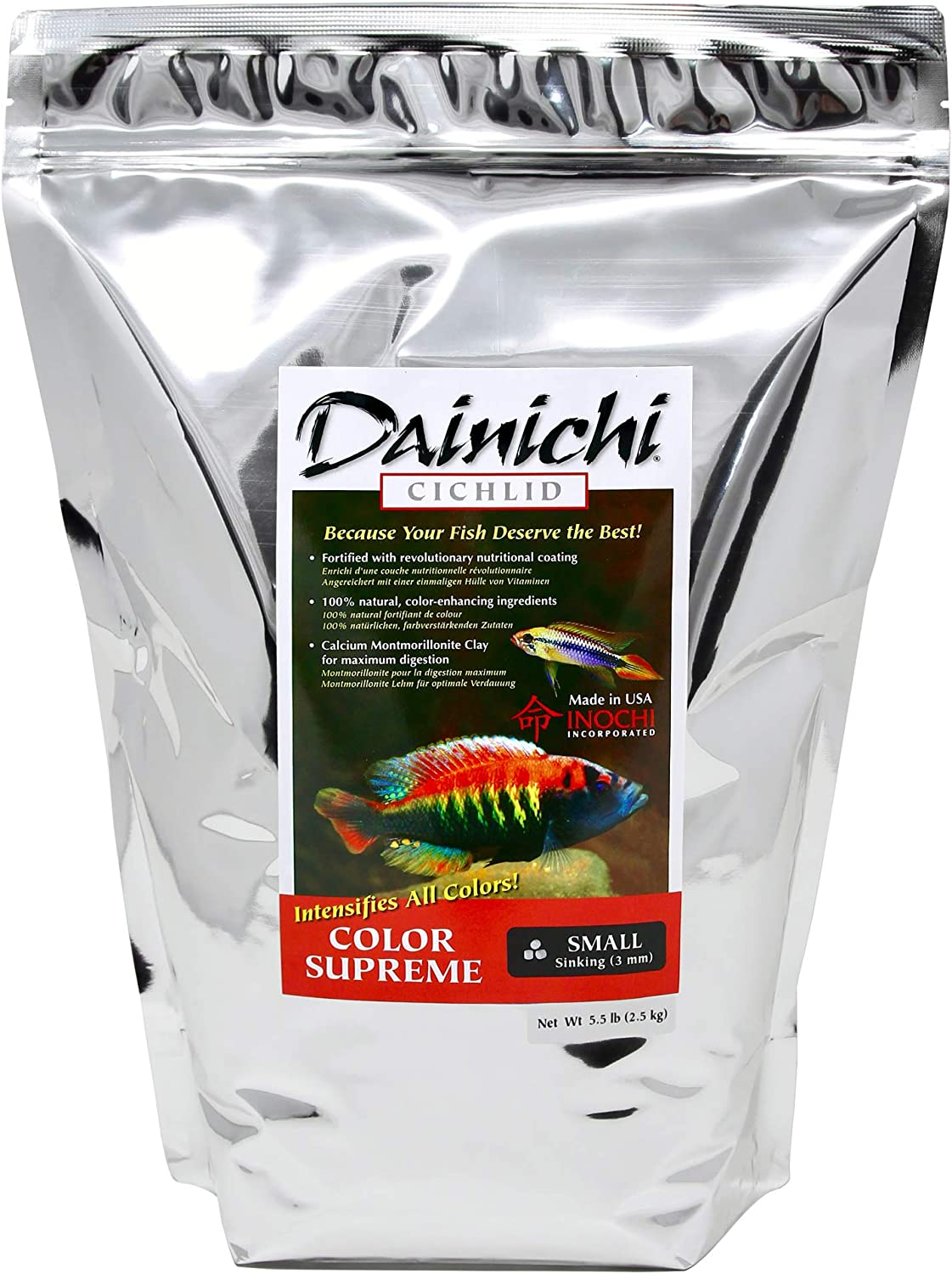 Dainichi Cichlid Food - Color SUPREME Sinking Small Pellet - 5.5 lbs