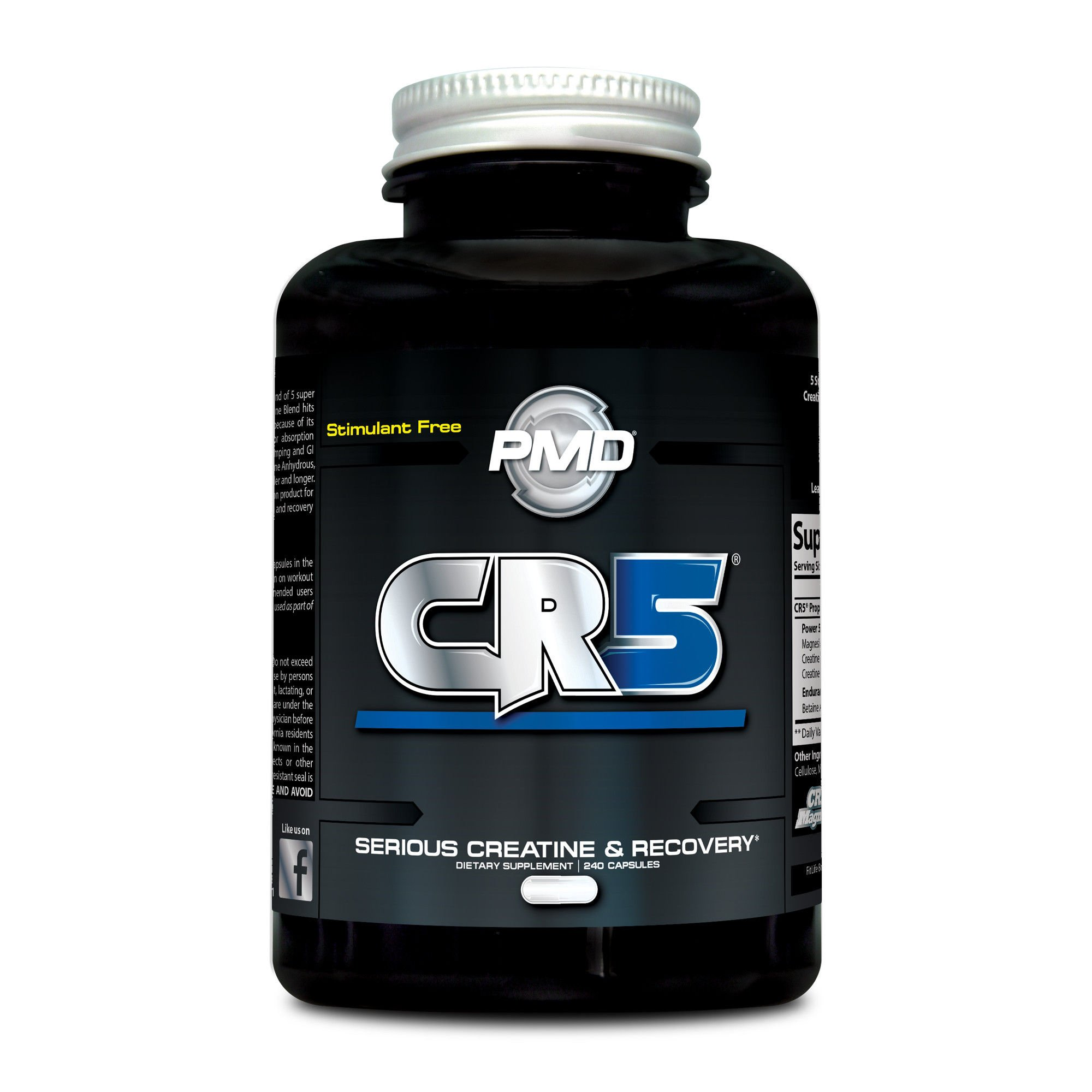 PMD Sports CR5 Professional Creatine Complex - Strength Training, Cardio Exercise, Athletic Performance, Lean Muscle Mass, Fast Recovery and Reduce Soreness - 240 Capsules … by PMD (Image #1)