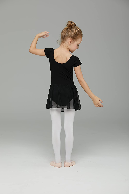 MdnMd Girls Short Sleeve Skirted Leotard