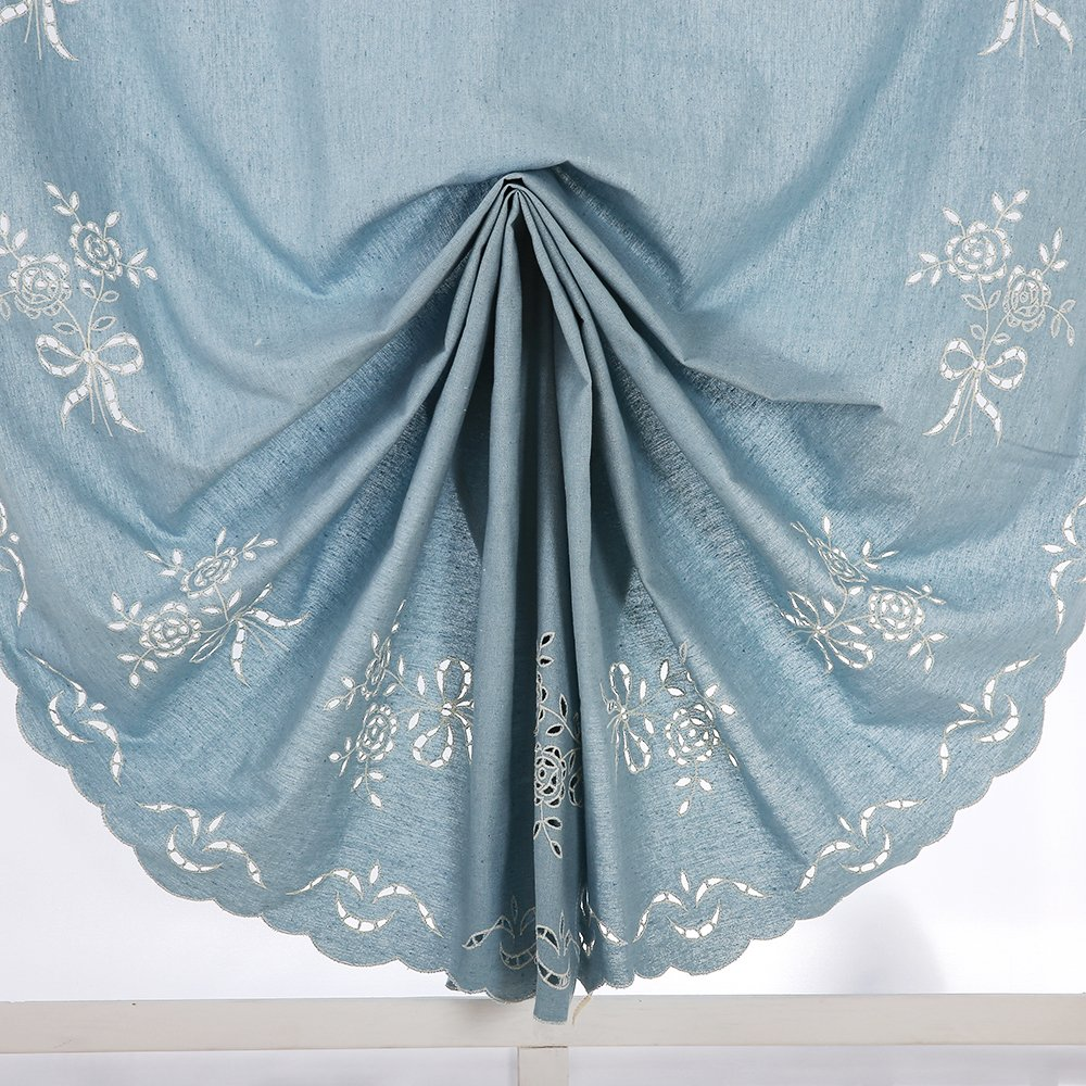 ZHH 47 Inch By 69 Inch Hollow-out Handmade Embroidered Flowers Cotton Tie-Up Roman Shade Curtain, Blue by ZHH (Image #7)