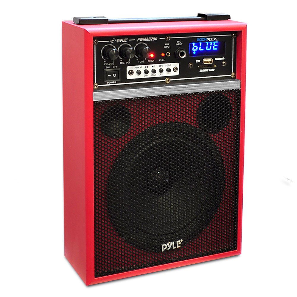 Pyle PWMAB250RD 300 Watt Bluetooth 6.5'' Portable PA Speaker System with Built-in Rechargeable Battery, Wired Microphone & FM Radio