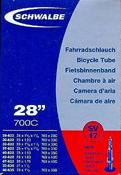 45C SIZE 700 X 28C SCHWALBE AV17 INNER TUBE X 4 WITH TYRE LEVERS