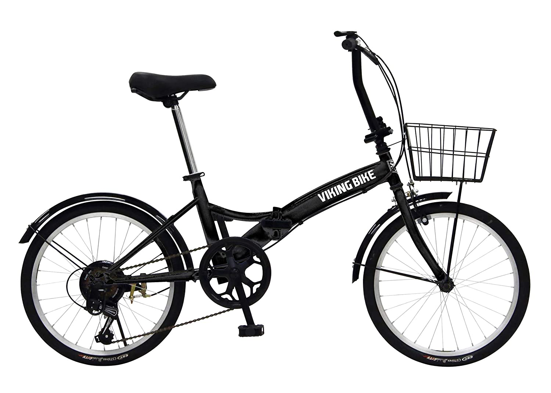 VIKINGBIKE(バイキングバイク) TUGH(タフ) パンクしない折りたたみ自転車 ノーパンクタイヤを採用 20インチ 6段変速 バスケット/泥除け装備 81205  ブラック B07MH1P3KH