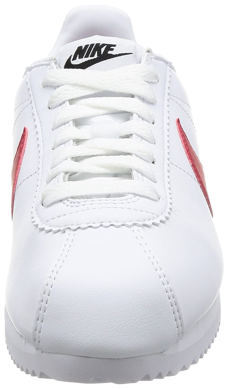 NIKE Classic da Cortez Pelle, Scarpe da Classic Ginnastica Basse Donna Bianco White/Varsity Red/Varsity Royal 103) 120013