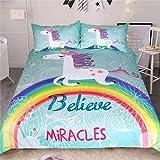 Stillshine Unicorn Bettwäsche Set Einzelgröße 135x200cm Kinder Cartoon Tier Muster Bettbezug mit Kissenbezüge Moderne Mode Regenbogen Einhorn Bettbezug für Junge Mädchen