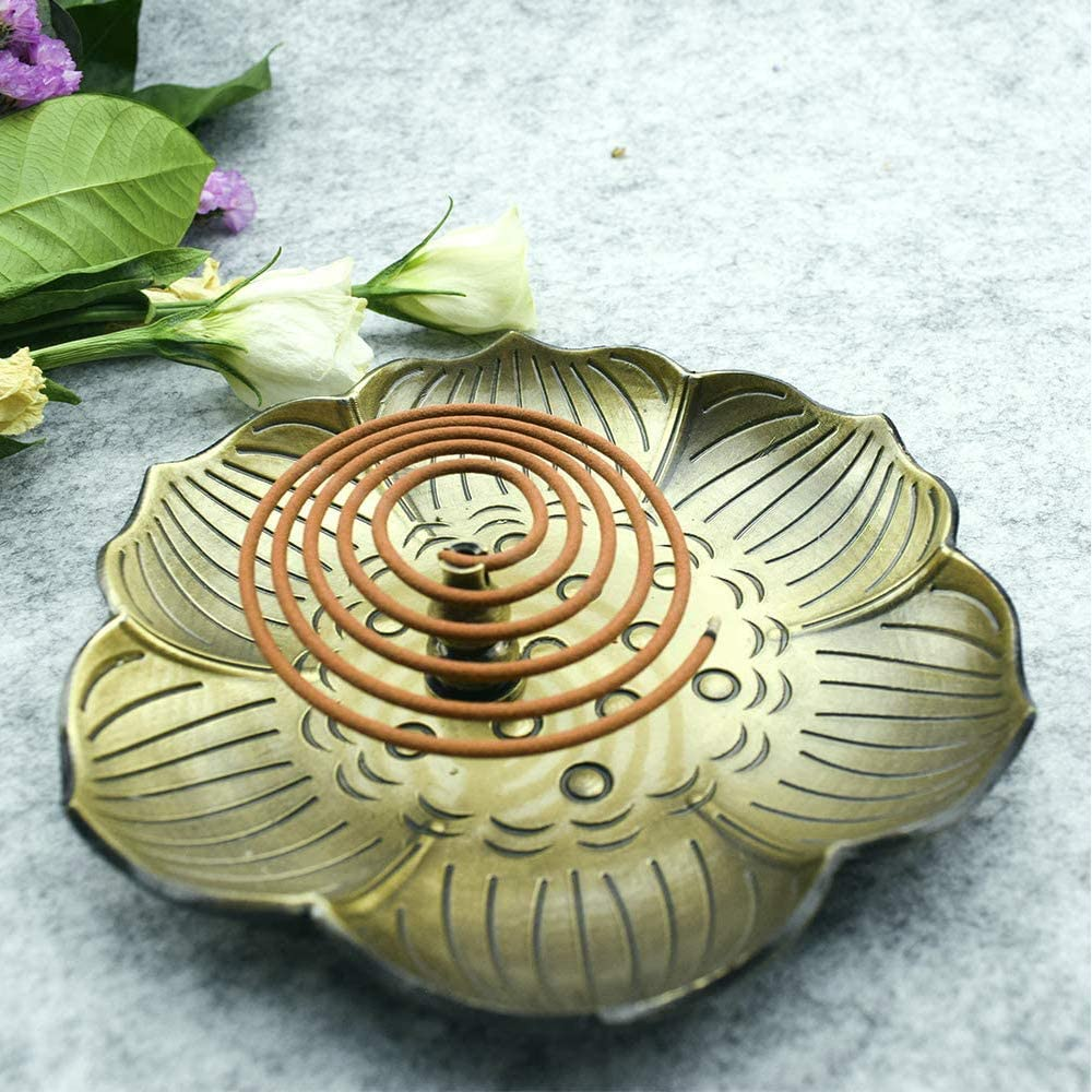 Lotus Stick Incense Burner and Cone Incense Holder with Ash Catcher 9 Holes 5 Brass Incense Holder Brown
