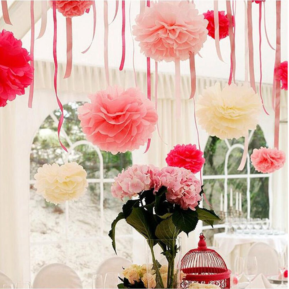 Tissue Paper Pom Pom Flowers Baby Shower Birthday Wedding Party Decorations 12 pcs Hanging Pom Poms,8'' 10'' Rose Pikn White by Jyukan (Image #6)