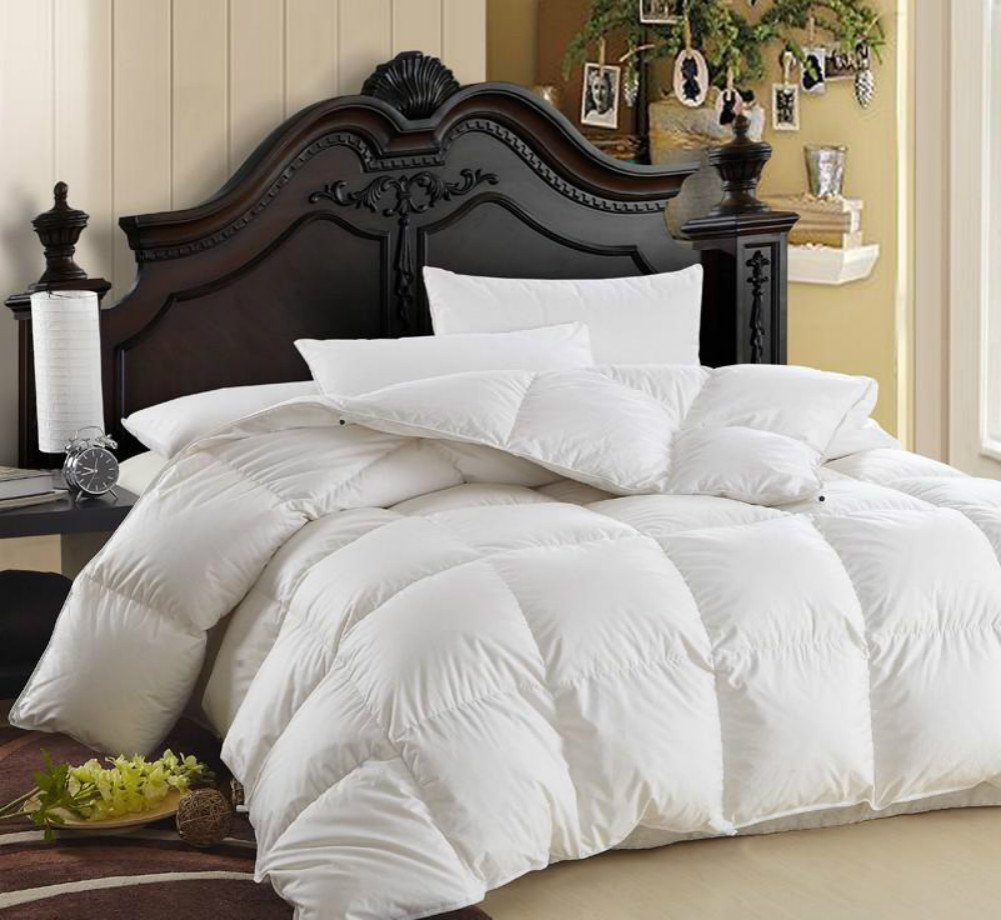 LUXURIOUS 1200TC GOOSE DOWN COMFORTER By COMHO, Twin Size Hypoallergenic Alternative Warm and Soft Duvet Insert, 1200 Thread Count, 850 Fill Power, 50 Oz Fill Weight, 100% Egyptian Cotton Cover, White
