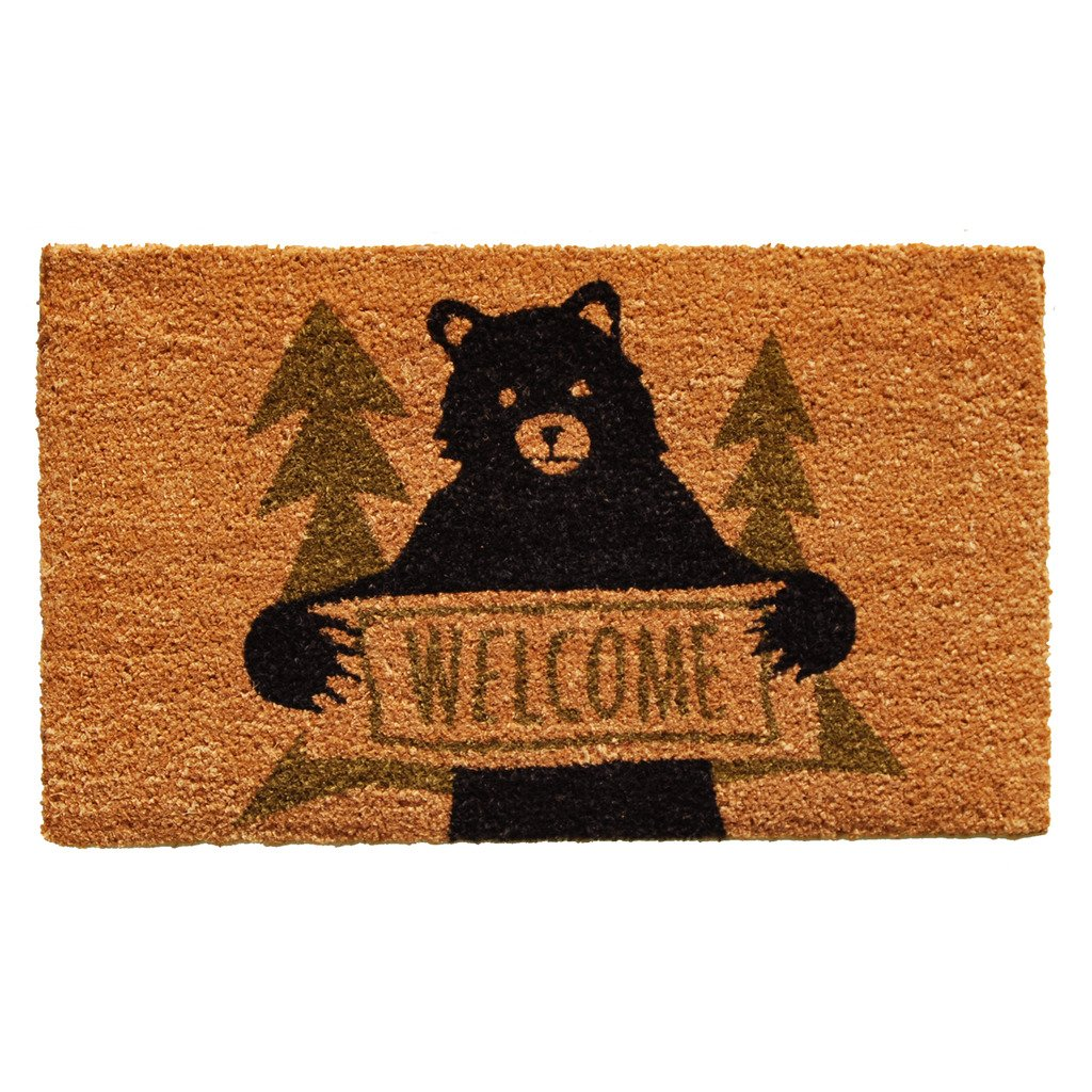 Home & More 122261729 Bear Greeting Doormat, Natural/Green/Black