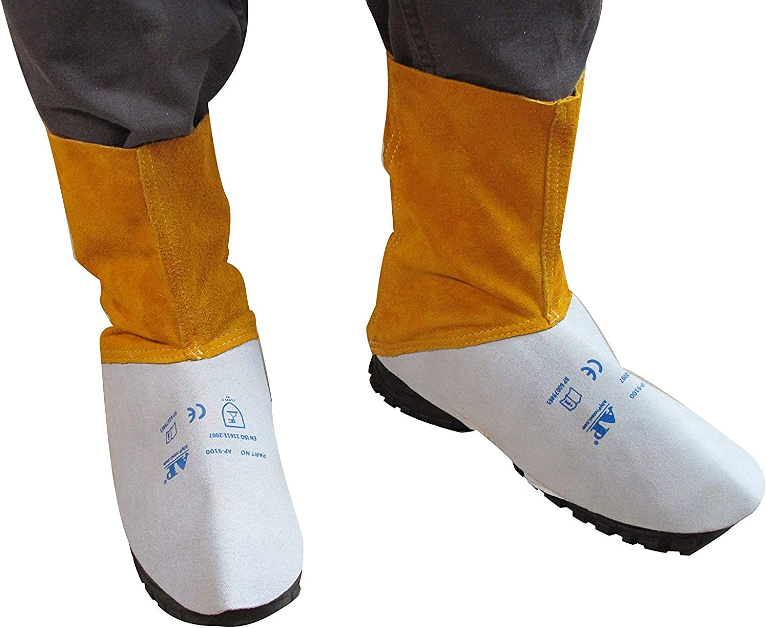AP-9100 AllyProtect Flame Retardant Leather Welding Spats//Shoe Protector//Boots Cover for Gardening /&Work Length 6 inch