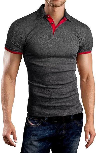 6a3a110f8becd5 Grin Bear Slim Fit Kontrast Polohemd Poloshirt Polo
