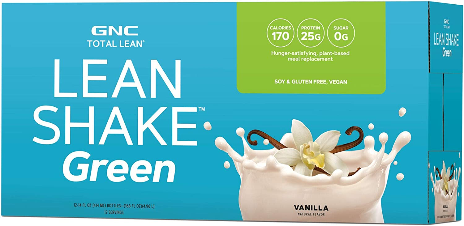 GNC Total Lean Lean Shake Green to Go Bottles - Vanilla, 12 Pack, Plant-Based Meal Replacement Shakes