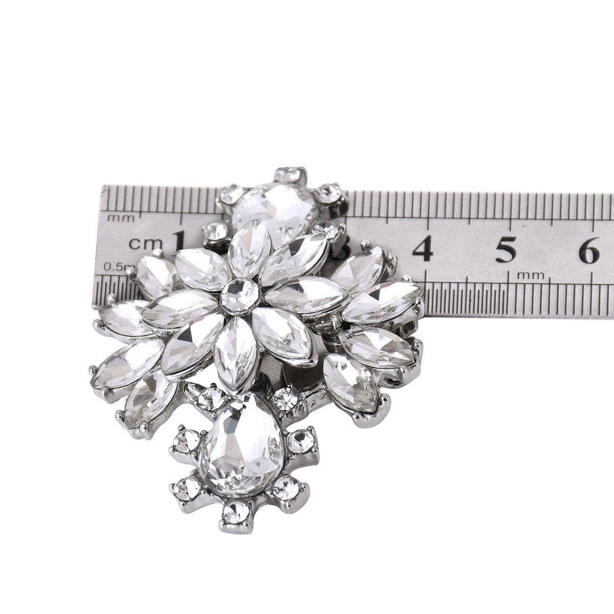 ElegantPark AK Wedding Dress Clutch Double Rhinestones Flowers Silver Shoe Clips 2 Pcs by ElegantPark (Image #7)