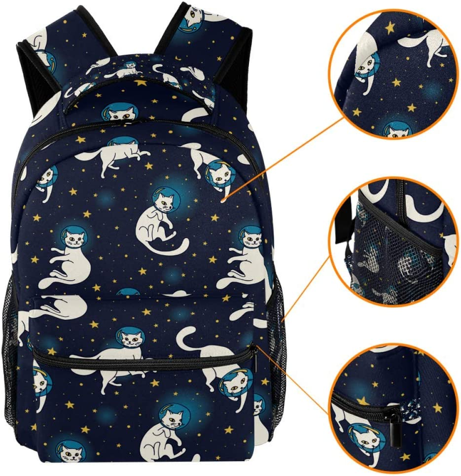 Cute Lightweight Big Capacity The Space Cat Backpacks School Bags for Teen Girls Boy 29.4x20x40cm//11.5x8x16 in