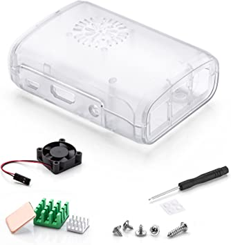 Aukru Transparente Caja + Disipador de Calor + Mini Fan para Raspberry Pi 3 Modelo B, B+: Amazon.es: Electrónica