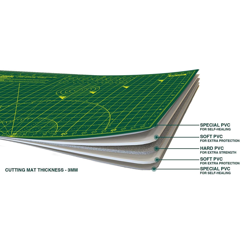 21 cm x 29 cm Verde//Verde ANSIO A4 Doppio Lato autorigenerante a 5 Strati per Taglio Imperiale//metrico 8 Pollici x 11 Pollici //