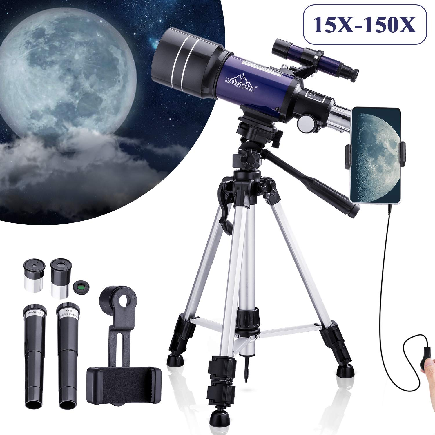 MAXLAPTER Telescope - Portable Travel Scope for Astronomy Beginners Kids, 300/70 HD Large View Telescopes with Camera Wire Shutter & Smartphone Adapter, Backpack-Blue by MAXLAPTER