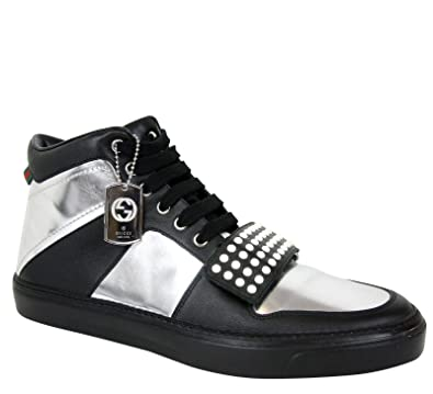dae08ce54b1f Gucci Limited Edition Silver Black Leather High top Sneaker 376194 1064  (7.5 G