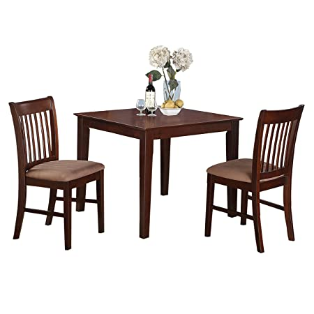 East West Furniture OXNO3-MAH-C 3 Pc Small Set-Square Table and 2 Kitchen Dining Chairs, Mahogany Finish