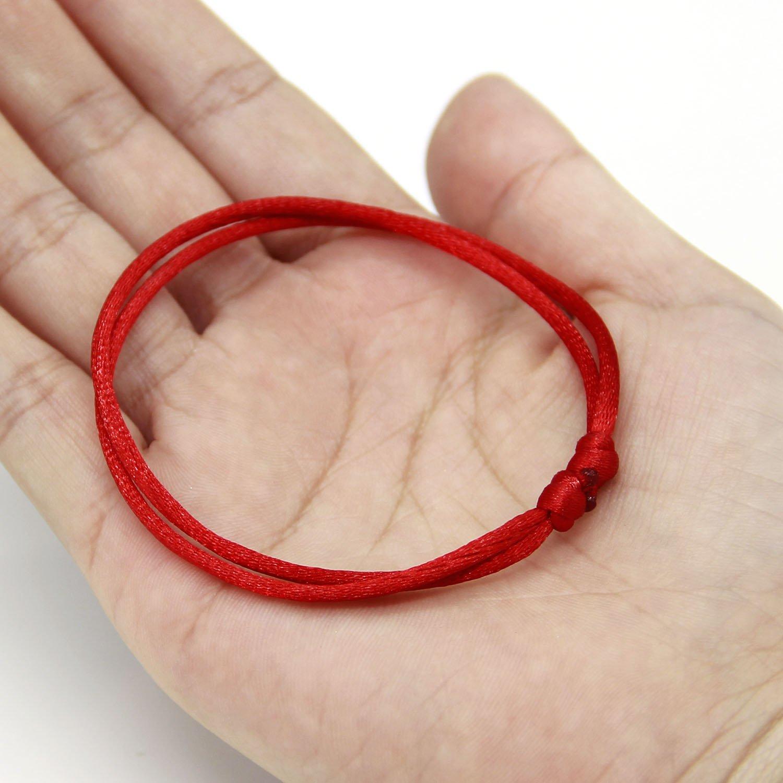 pulsera ajustable Cabal/á Paquete de 12 pulseras rojas cuerda roja hecha a mano talla /única Pulseras de cordel rojo Lot-Kabbalah buena para la riqueza y el amor