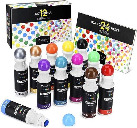 Magicfly Dot Rotuladores Lavables 12 Colores, Marcadores con Punta de Esponja Redonda, Pintura Lavable para Niños, con Cuaderno de Dibujos: Amazon.es: Hogar