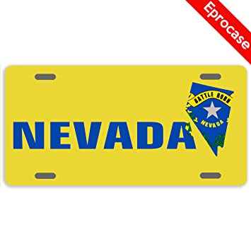License Plate State Map.Amazon Com Eprocase State Map License Plate Nevada Flag License