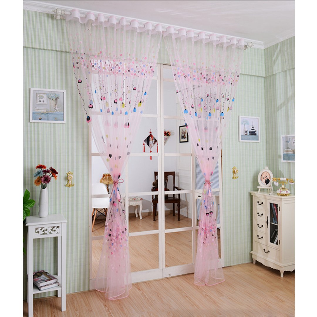 90S Elegant Printing Window Curtain Floral Voile Door Curtain (One Panel, 39.4 * 78.7 in)