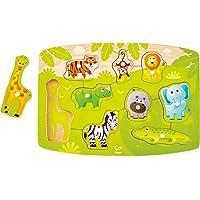 Hape E1405 Jungle Peg Puzzle (10 Pieces),Multicolor