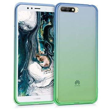 kwmobile Funda para Huawei Y6 (2018) - Carcasa para móvil de [TPU] con diseño Bicolor - [Azul/Verde/Transparente]
