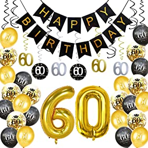 HankRobot 60th Birthday Decorations Party Supplies(42pack) Gold Number Balloon 60 Happy Birthday Banner Latex Balloons(Black, Golden) Confetti Balloons (60)