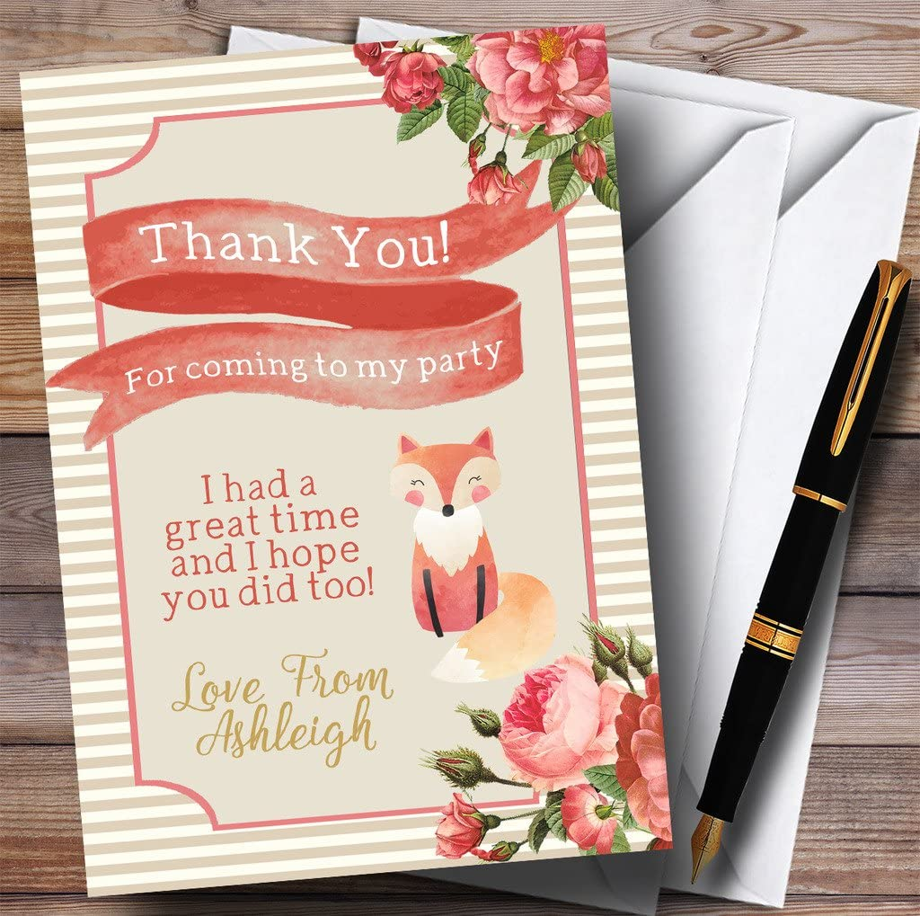 Stripy Floral Pink Gold Fox Party Thank You Cards