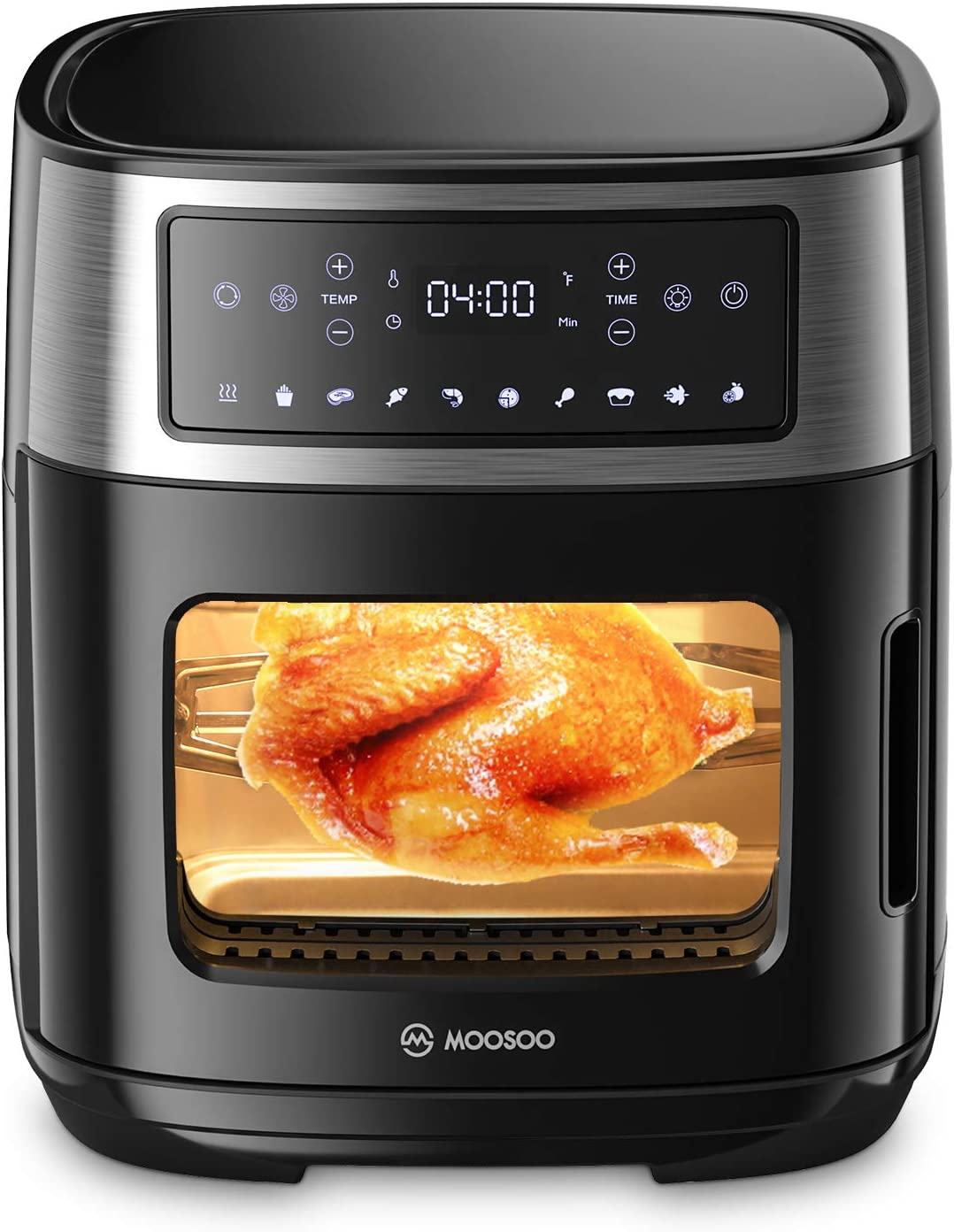 MOOSOO 12.6 Quart Air Fryer Oven, 10-in-1 Combo Convection Roaster with Double Glass Window, Digital Screen with Time/Temp Control, 1600W Air Fryer Toaster Oven with Auto Shutoff & Overheat Protection