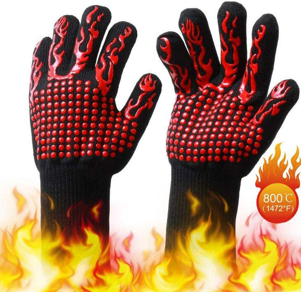 Yaonieo 1472℉ Heat-Resistant BBQ Gloves, Oven Microwave Oven Anti-Scald Gloves, Double-Sided Silicone Cotton Material, Anti-Cut Finger (red)