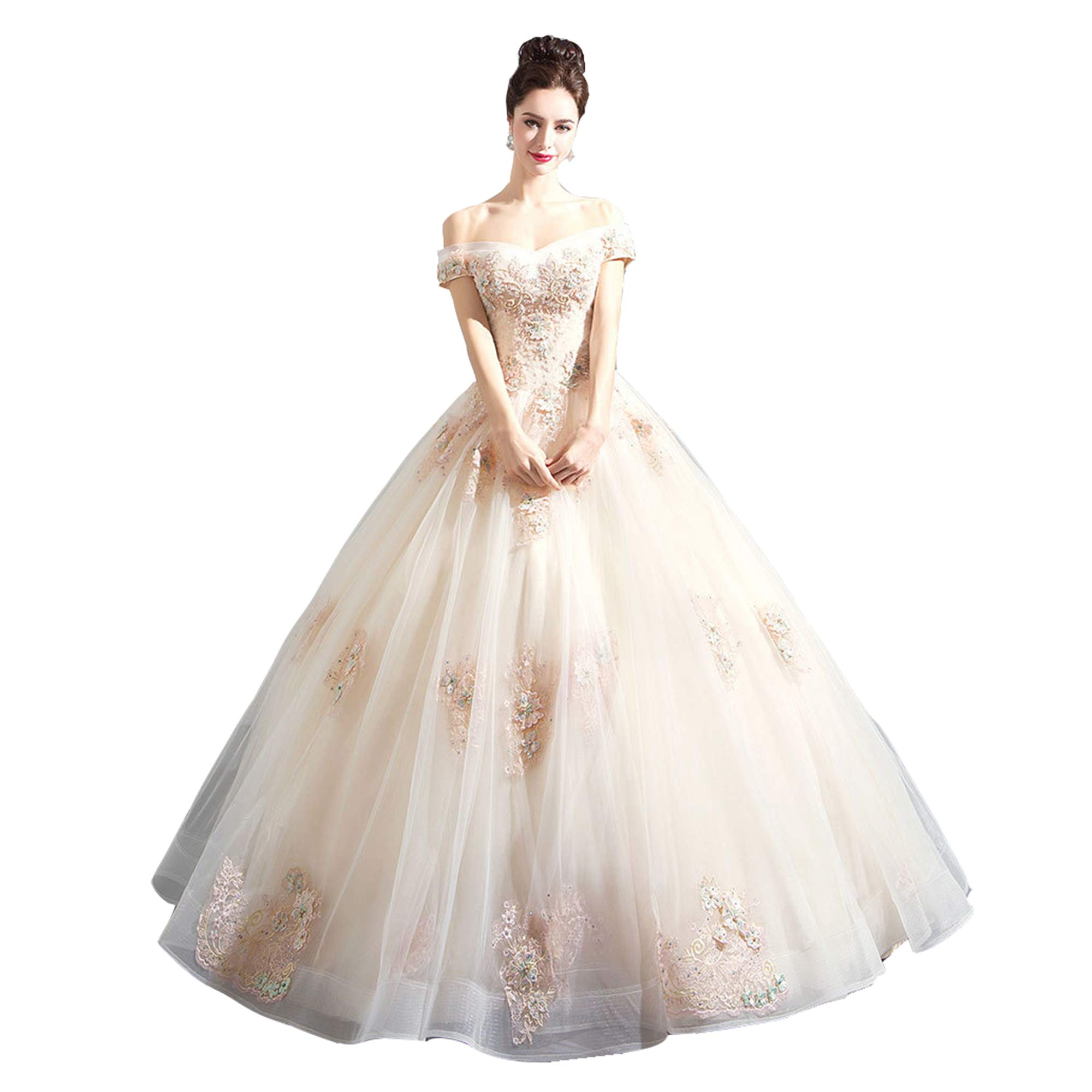 NOMSOCR Women's Lace Off Shoulder Tulle Wedding Dresses Bridal Gown (L, White) by NOMSOCR (Image #1)
