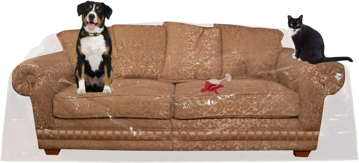"Houseables Couch Covers For Dogs, Cat Scratch Deterrent, 96""W x 42""H x 40""D, 1 Pk, Clear, Vinyl, Sofa Protector, Waterproof Shield, Furniture Protectors, Plastic Slipcovers, Dog, Pet, Cats Pee, Moving"