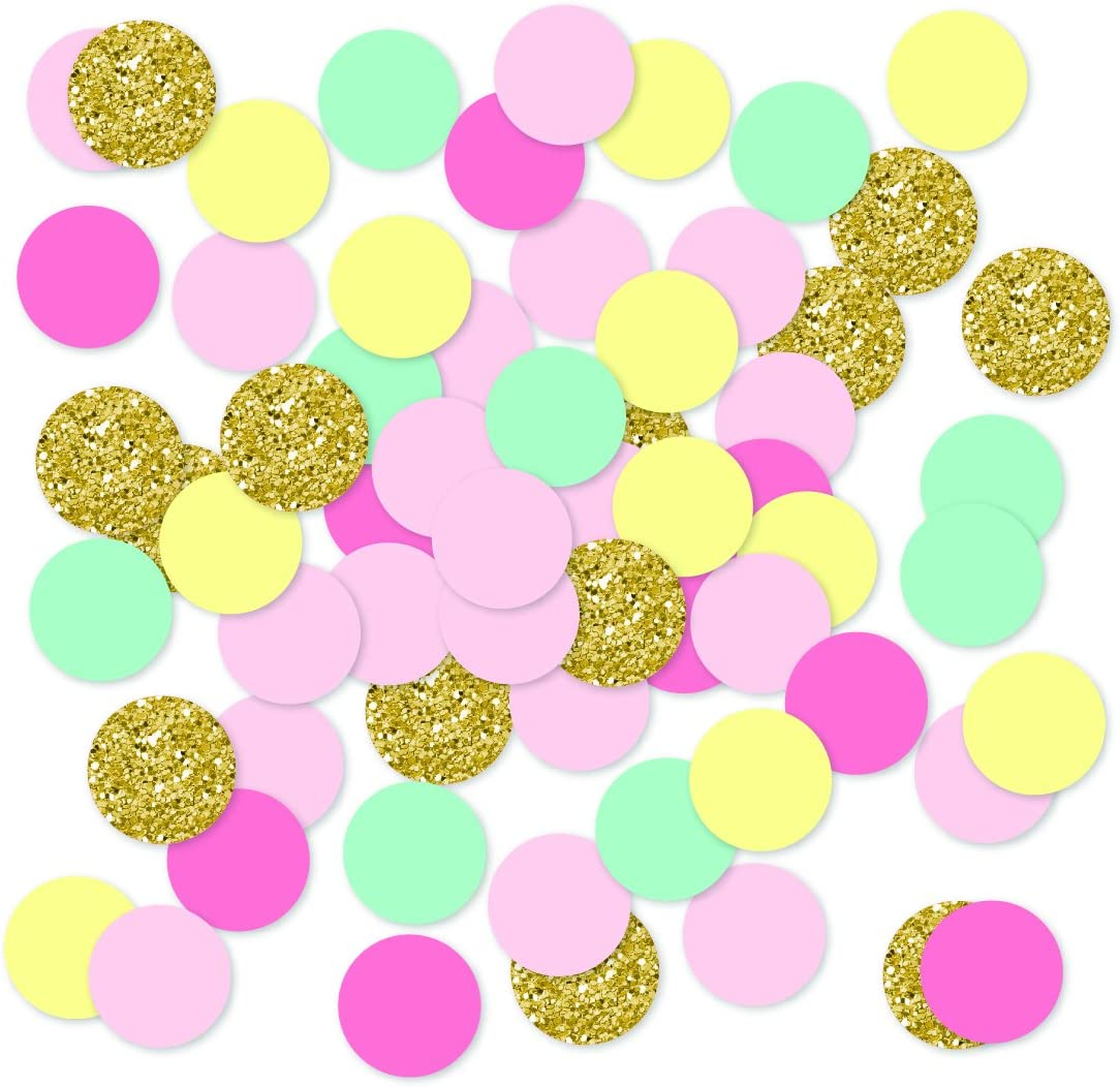 Andaz Press Large Confetti Party Table Decor, 1.5-inch Double-Sided, Faux Gold Glitter Bohemian Sweets Party Collection, 180-Pack