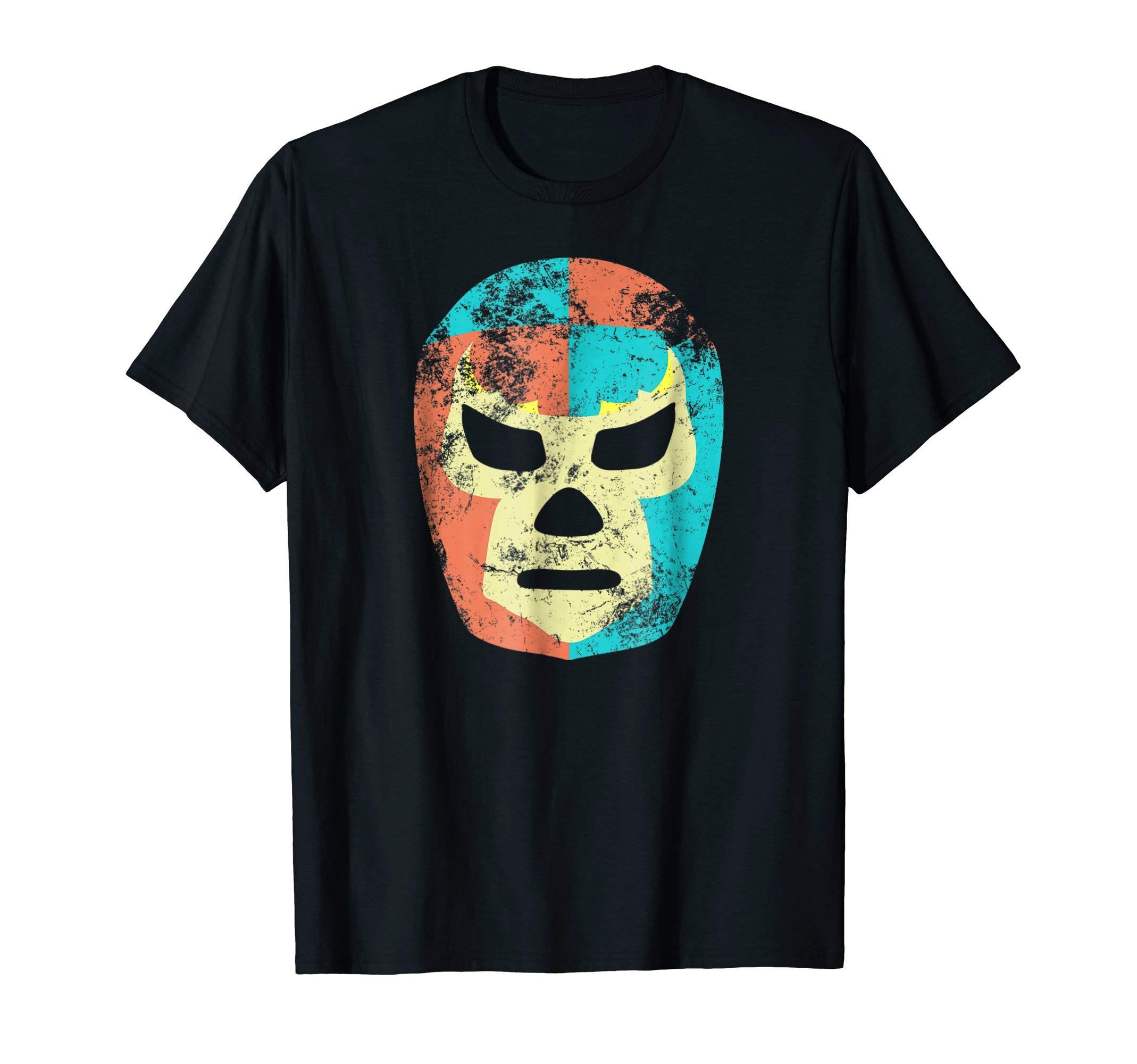 Retro Wrestling Mask Mexican Lucha Libre Luchador T-Shirt by Lucha Libre Luchador Wrestling Mask