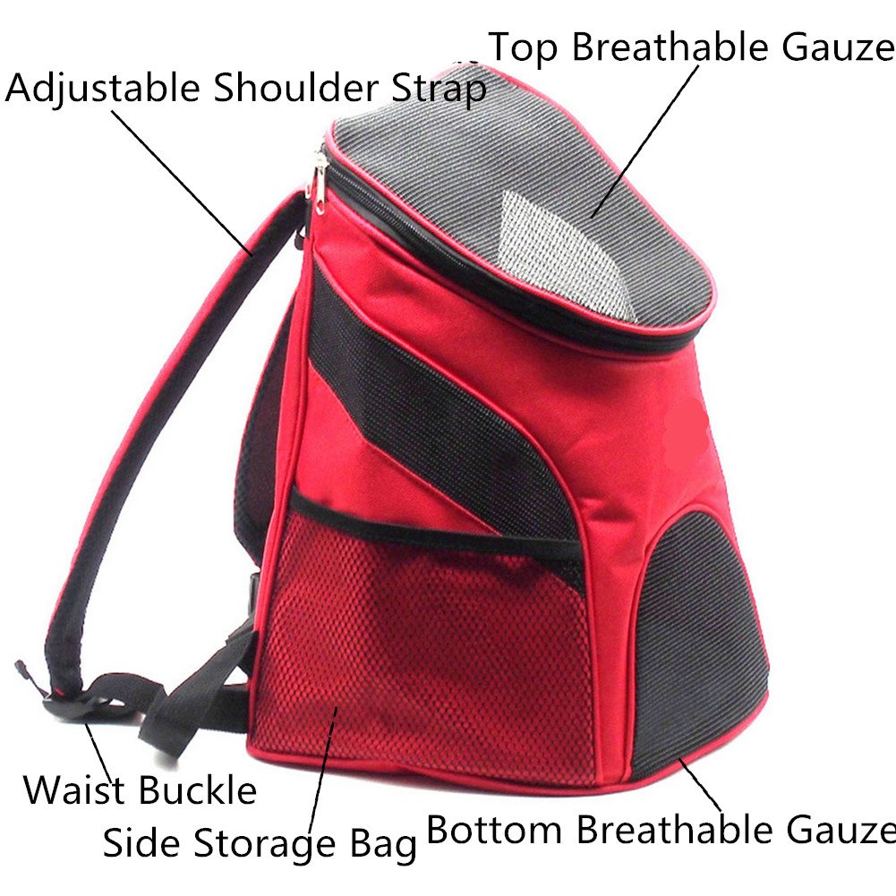 Pet Carrier Bag Portable Outdoor Ventilated Breathable Mesh Pet Dog Cat Carriers Double Shoulder Bags Backpack Travel Bag for Puppy Small Dogs Red