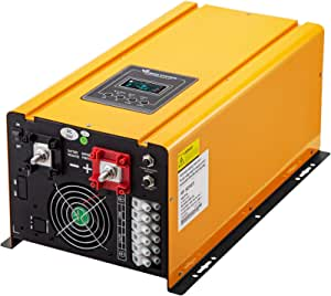 VEVOR Pure Sine Wave Power Inverter 3000W Low Frequency Inverter Peak 9000W Pure Sine Inverter Charger 24VDC 120VAC with Battery AC Charger, Off Grid Low Frequency Solar Inverter for Lithium Batteries