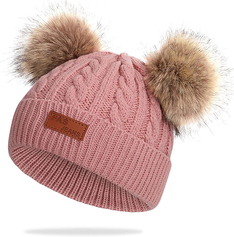 Gorro de Invierno cálido para bebé Gorro Beanie de Piel de Ganchillo para niños pequeños Pom Pom Sombrero Bebé Niños Niñas
