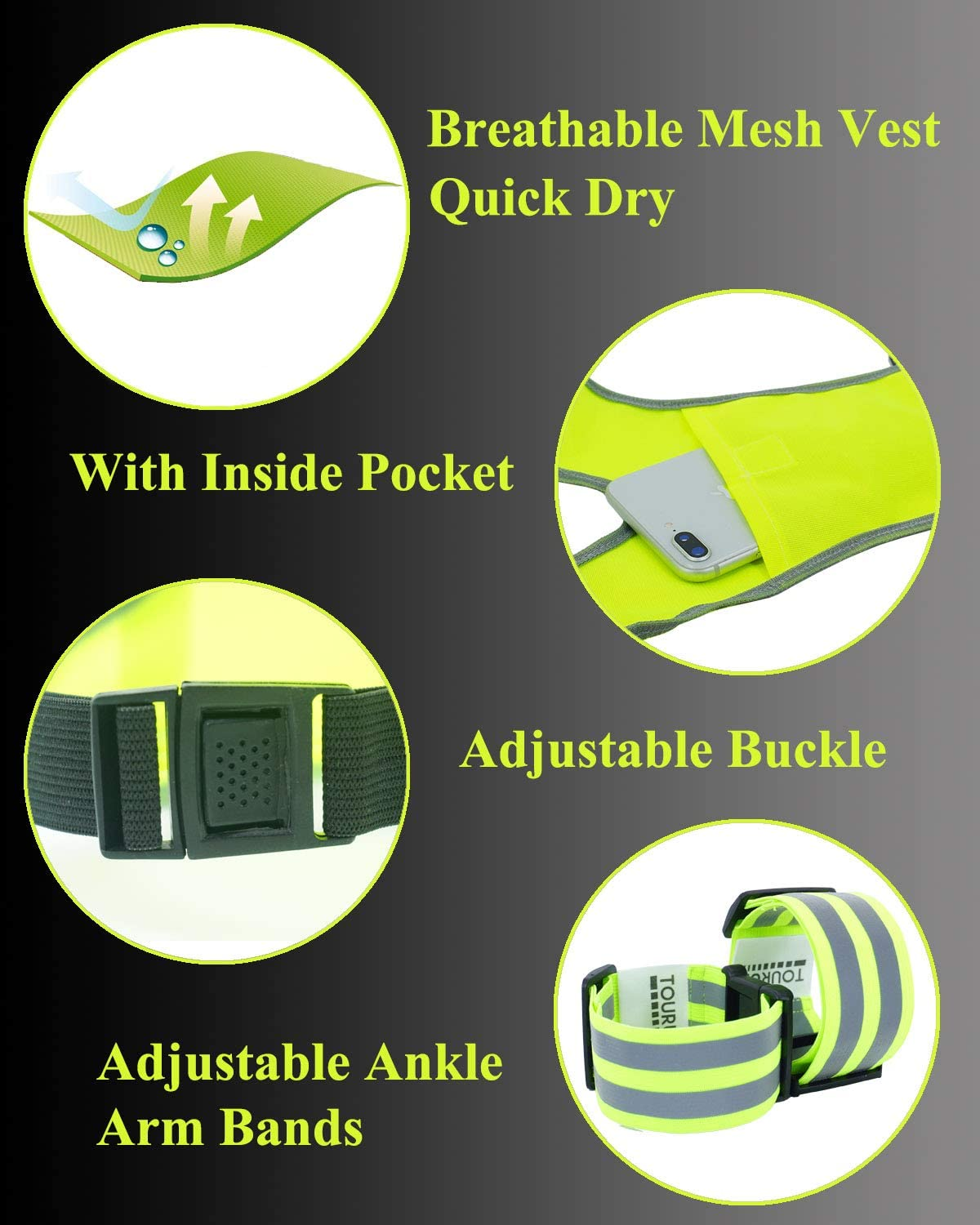Safety Reflective Vest Bands for Night Cycling Walking Bicycle Jogging TOURUN Reflective Running Vest Gear with Pocket for Women Men Kids