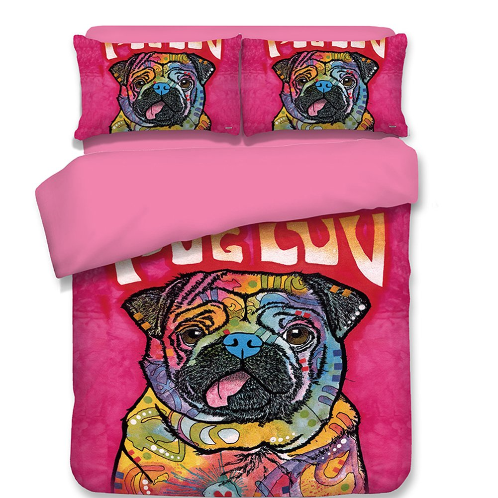 Sport Do Pug Duvet Cover Set Twin Size, Colorful Dog Cool Pet Animal Design, Decorative 1 Piece Bedding Cover with 2 Pillow Sham, Pink