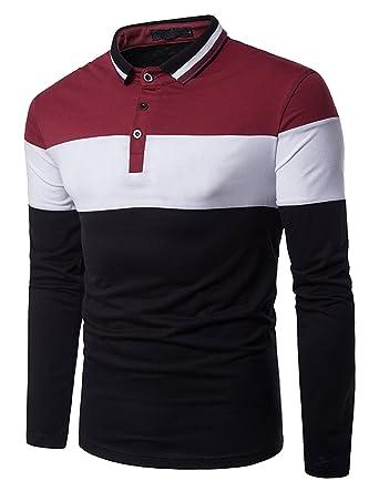 size 40 b5414 949fa Boom Fashion poloshirt Herren Langarm-Polohemd Elegante Stil Männer  Freizeit T-shirt
