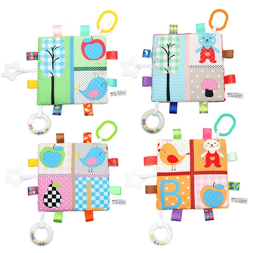 BPA Free Bear and Apple Newborn Baby Crinkle Toys Car Seat Stroller Toys Cute Baby Rattle Teething Toys YeahiBaby Animal Teething Blanket Toys