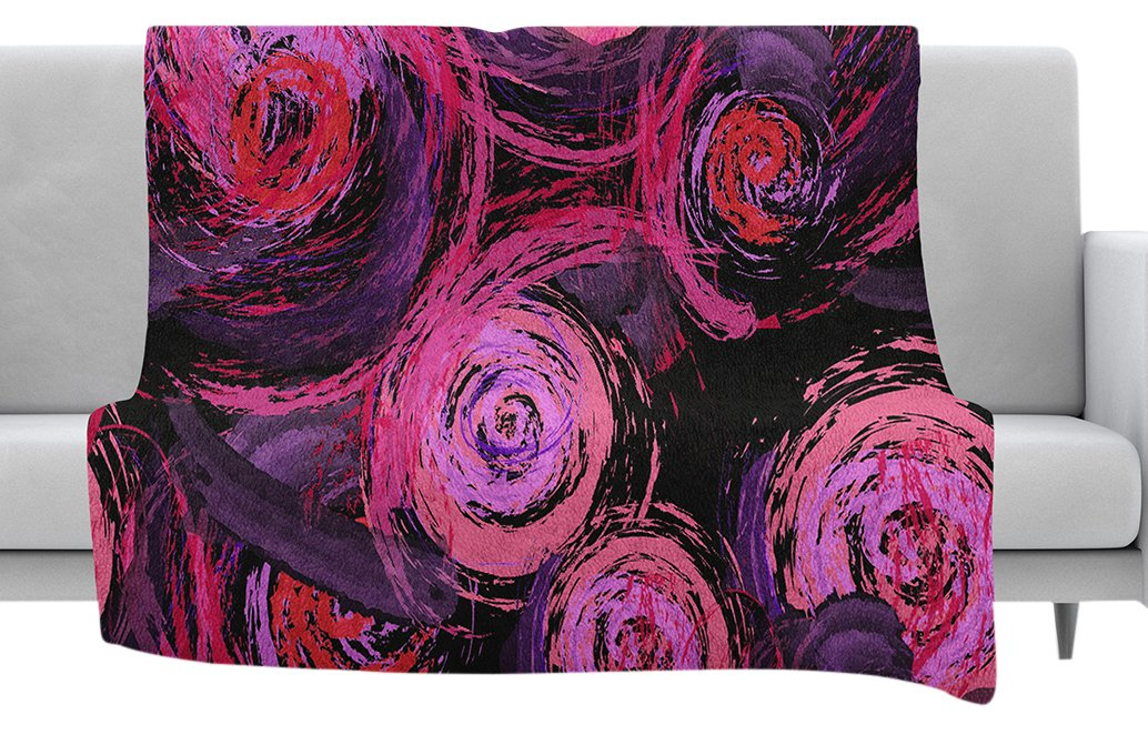80 x 60 Fleece Blanket Kess InHouse Alison Coxon Jungle Kaleidoscope Warm Purple White Throw