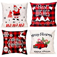 GENNISSY 4 Packs 18 X 18 Inch Merry Christmas Square Pillowcases - Holiday Decoration Santa Claus Pillow Cover(Best Wish…