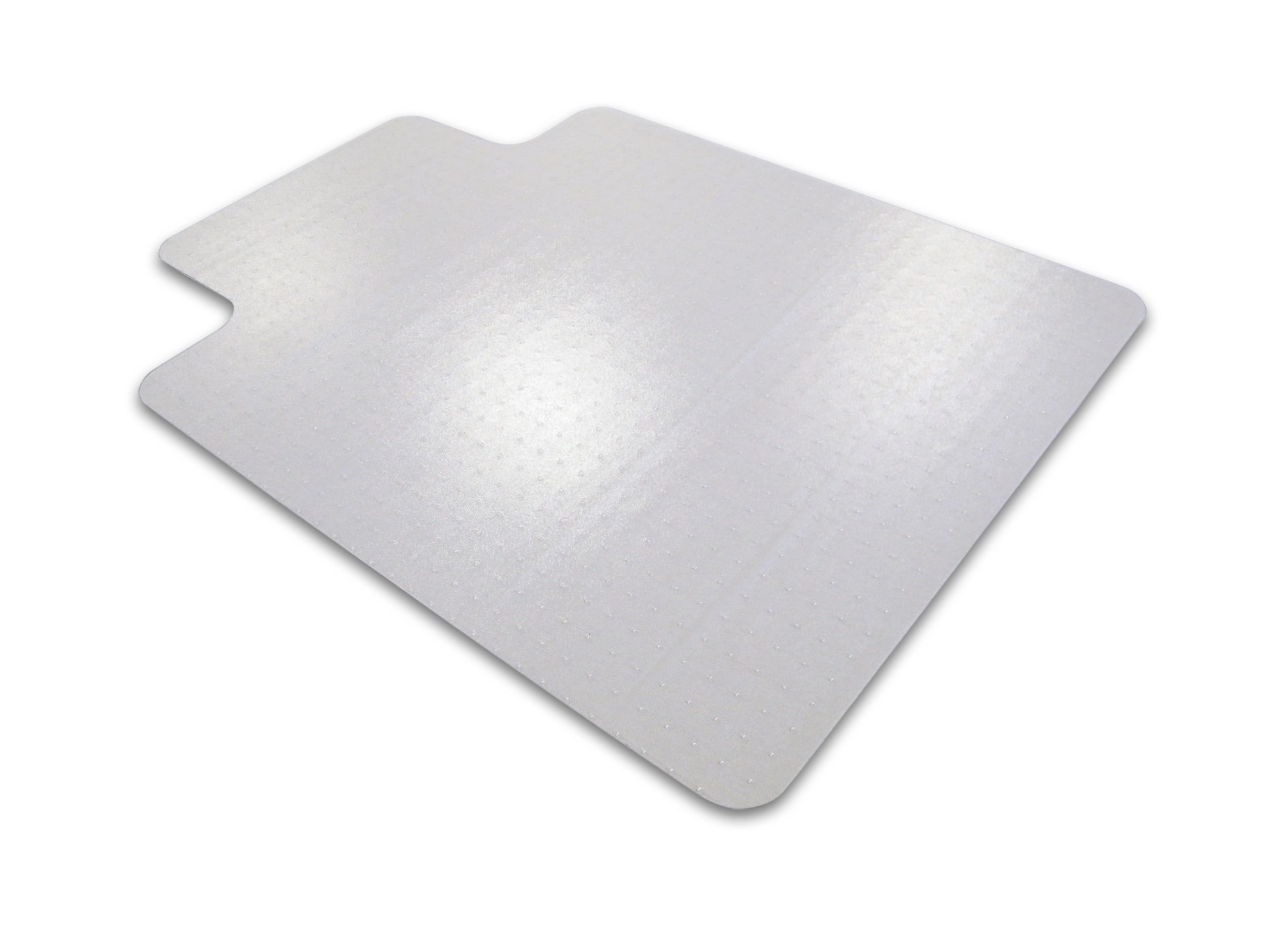 Ecotex Enhanced Polymer Clear Chairmat for Standard Pile Carpets up to 3/8'' , Rectangular with Front Lipped Area for Under Desk Protection (48'' X 51'') by Floortex